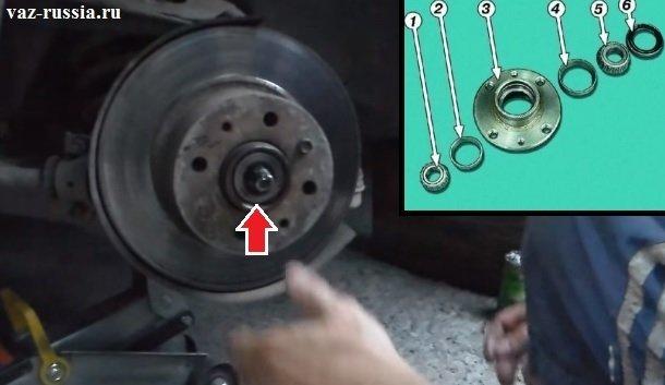 Расположение подшипника ступицы и схема того, в какой последовательности он запрессован во внутреннюю часть ступицы