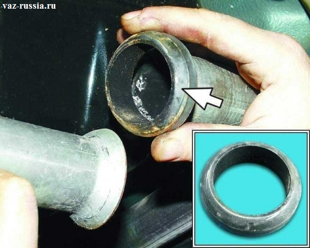 Установка уплотнительного кольца, между двумя глушителями