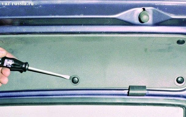 Поддевание с помощью отвертки десяти пистонов, которые крепят обшивку к крышки