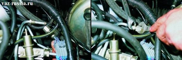 На левом рисунке показано соединение между собой обоих топливных трубок. А на правом показано заворачивание штуцеров крепящих между собой эти трубки