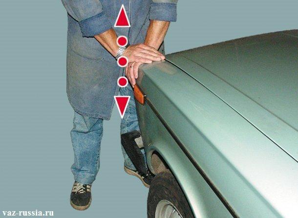 Покачивание автомобиля за край крыла