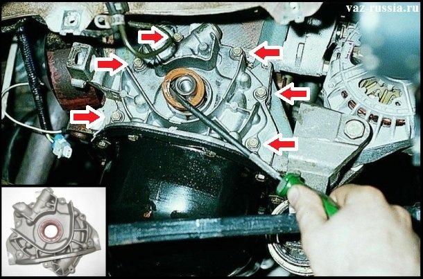 Стрелками указано шесть болтов, за счёт которых маслонасос крепится к блоку цилиндров. А в левой углу, показана фотография на которой изображен тот самый масляный насос