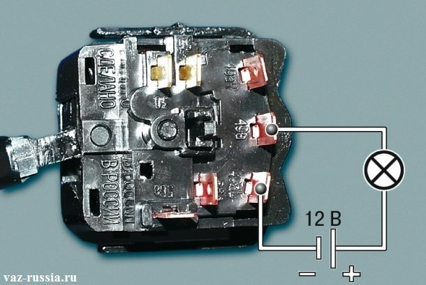 Подсоединение к контакту «49 a» и «49 aL» контрольной лампы и дальнейшая проверка переключателя на работоспособность