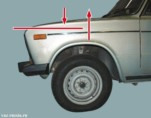 Стрелками показано колебание которое автомобиль должен совершить после его раскачки