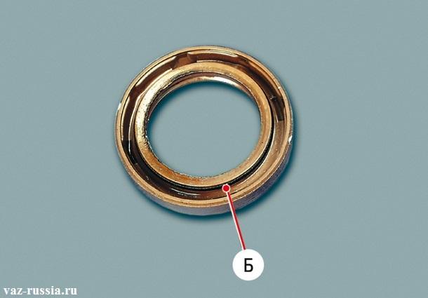Стрелкой «Б» - указана пружина сальника