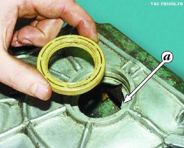 Буквой «А» показано то что сальник, обязательно должен быть установлен в крышки рабочей своей кромкой