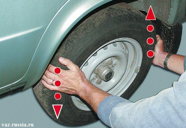 Прокручивание вывешенного заднего колеса, для выставление меток