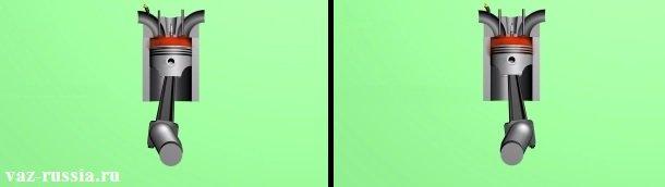 На левом рисунке - Поршень движущийся с запозданием к ВМТ. На правом рисунке - Поршень уже движется вниз и только после чего происходит взрывная волна.