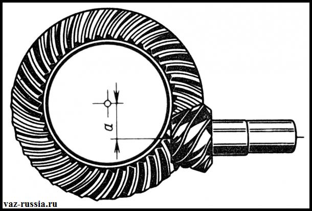 На фото изображена гипоидная передача, которая в основном применяется только лишь в редукторе