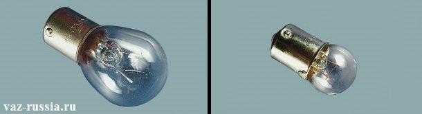 На фото изображены две лампы, одна из которых располагается справа и подлежит установки в габаритный свет, а другая изображена слева и подлежит установки в указатель поворота