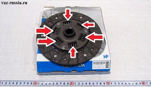 На фото изображен ведомый диск, а стрелками указаны шесть демпферных пружин этого диска