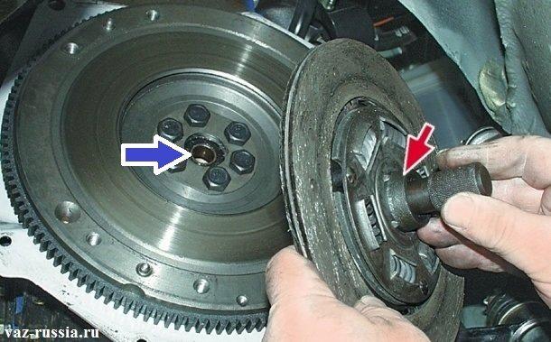 Синей стрелкой указано место в которое должна устанавливаться оправка. А красной стрелкой указан ведомый диск сцепления и вставленная в него оправка, которую после снятия диска необходимо снять