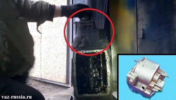 В круг обведена задняя крышка картера коробки, а на маленьком фото данная крышка показана снятой с коробки