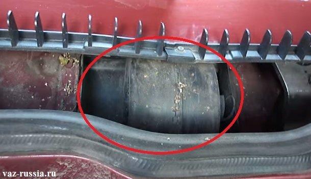 В круг обведено местонахождение данного фильтра, которое нужно будет тряпочкой или же щёткой очистить от грязи