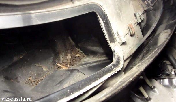 На фото показана листа и пыль, в отсеке где установлен фильтр салона, так вот всей этой грязи быть недолжно поэтому уберите её если она у вас присутствует