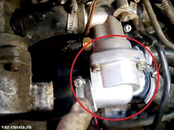 В круг обведена крышка термостата а сам данный агрегат располагается внутри данной крышки