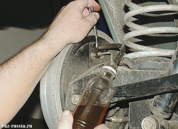 Ослабление на 2-3 оборота штуцера который нужен для слива тормозной жидкости
