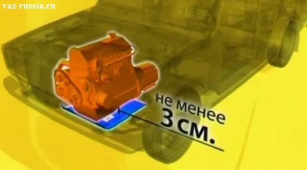 Те самые 3 см. Которые обязательно должны быть между защитой и самим картером двигателя, а иначе от первого же камня защита может с лёгкостью достать до картера если расстояние между ними будет маленькое.