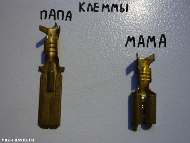На фотографии приведены два вида клемм, а именно Папа и Мама