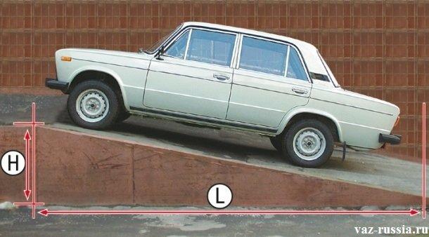 Автомобиль ВАЗ 2106 стоящей на 25% горке