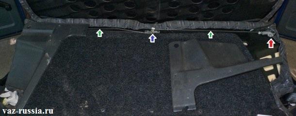 Разложенная спинка заднего сиденья и на фото указана зелёными стрелками самая тросиковая тяга, а так же ручка замков она указана синей стрелкой и сами замки, но на фото второй замок к сожалению закрыт облицовкой и поэтому его не видно