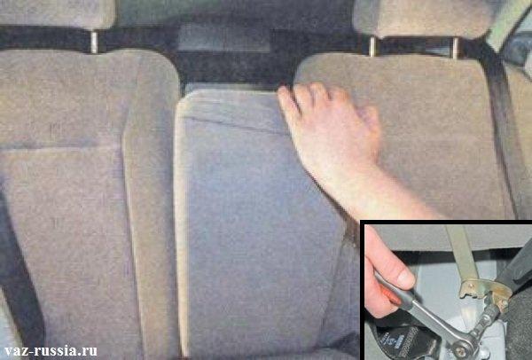 Оттягивание подлокотника который находится по середине и отворачивание двух гаек которые его крепят к кузову автомобиля