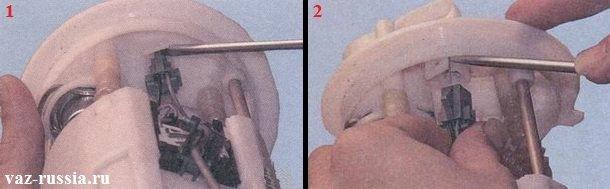 Нажатие на защёлку и вследствие чего извлечение основного разъёма из промежуточного