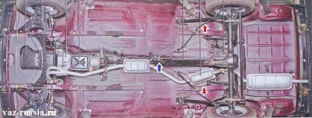 Вид автомобиля ВАЗ 2107 снизу, а синей стрелкой указано место где трос ручника изгибается и тем самым идёт на обе задних тормозных колодки