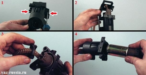 Разборка корпуса бензонасоса и вынимание его электродвигателя из корпуса