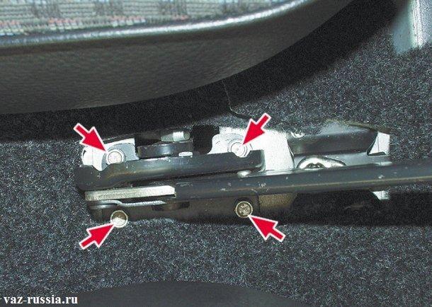 Четыре болта которые крепят ручник к кузову автомобиля