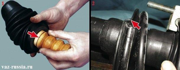 Вставление защитного чехла в проточку на буфере сжатия, и установка кончика пружины таким образом, чтобы он упёрся в выступ на нижней чашке