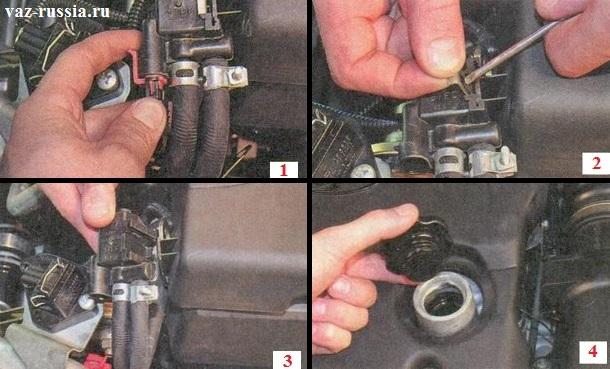 Отведение от экрана клапана адсорбера и откручивание крышки которая закрывает заливную горловину, в которую заливается моторное масло в двигатель автомобиля