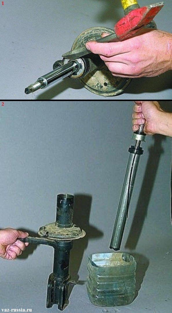 Выворачивание гайки и разборка стойки, с последующим выливанием из неё и из патрона амортизаторной жидкости в ёмкость