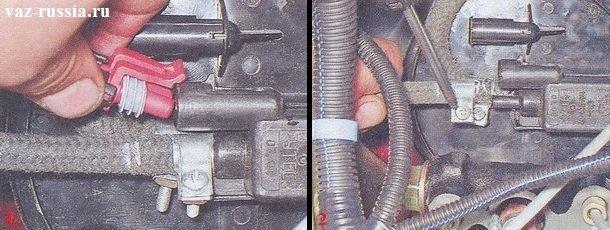 Колодка проводов клапана продувки и шланг который к нему подсоединяется