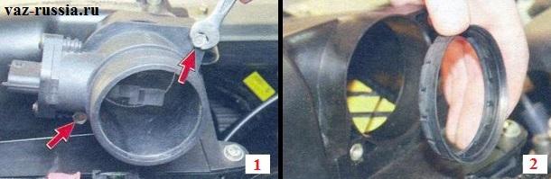 Отворачивание гаек крепления корпуса датчика и после чего снятие этого корпуса и уплотнительной прокладки которая за ним находится