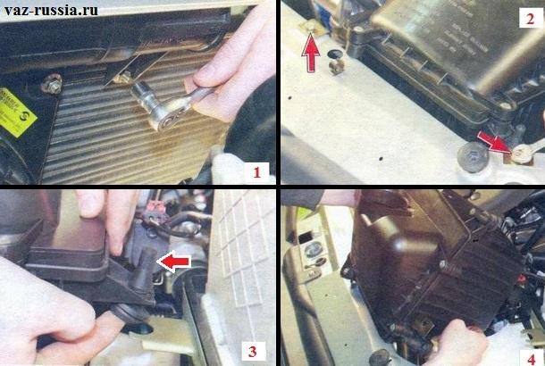 Снятие корпуса воздухофильтра посредством выворачивание всех винтов которые его крепят