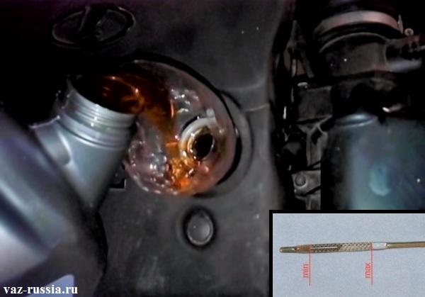Заливание масла в двигатель автомобиля через заливное отверстие и проверка по щупу уровня масла