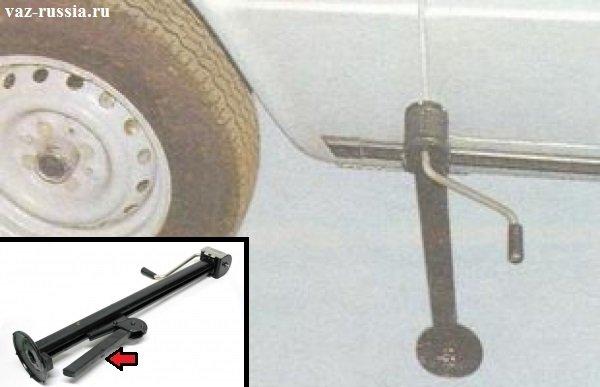 Поднимание при помощи домкрата автомобилю в воздух