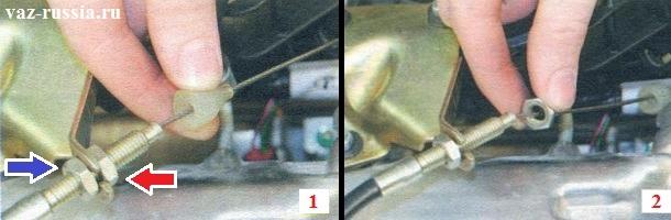 Отворачивание гаек которые удерживают трос на кронштейне и не дают ему болтаться
