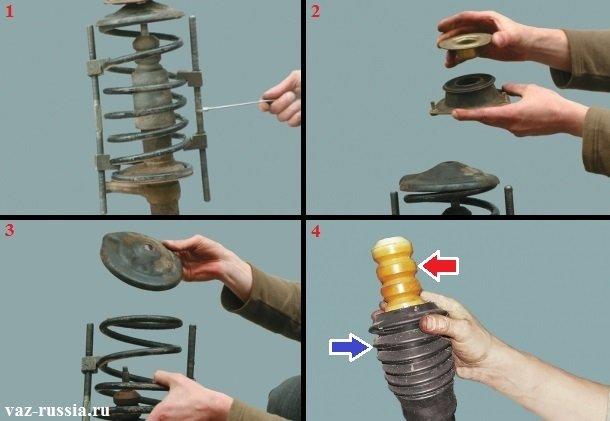 Разборка стойки, снятие с неё буфера сжатия а так же его защитного чехла и снятия верхней чашки с пружиной