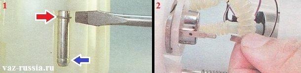 Поддевание стопорного кольца и его перемещение по направляющей, а так же отсоединение проводка от регулятора давления топлива
