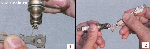 Установка зазора между боковым и центральным электродом свечи при помощи специального щупа