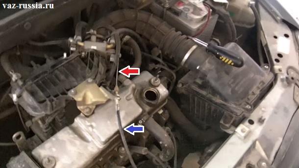 На фото изображено местонахождение троса заслонки, а стрелками указан сам трос и оболочка внутри которой он располагается