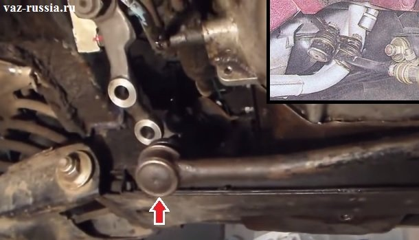 Красной стрелкой указана рулевая тяга на которой сверху присутствует палец (На фото плохо видно) который и входит в оба отверстия которые присутствуют на сошке