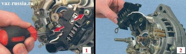 Выворачивание центральных боковых винтов крепления регулятора и его снятие после этого