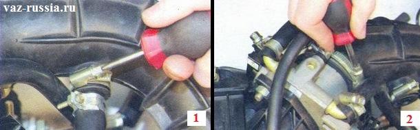 Выворачивание винтов крепления хомутов которые крепят шланг вентиляции картера и основной патрубок подвода воздуха