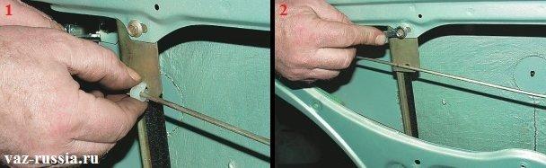 Вынимание пластмассового хомута крепящего тягу и отворачивание болта и гайки крепления заднего желобка
