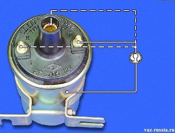 Проверка катушки на изоляцию посредством подсоединения выводов идущих от мульти-метра
