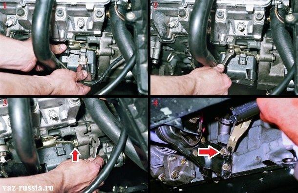 Отсоединение колодки проводов от модуля зажигания и отворачивание всех болтов крепления этого модуля