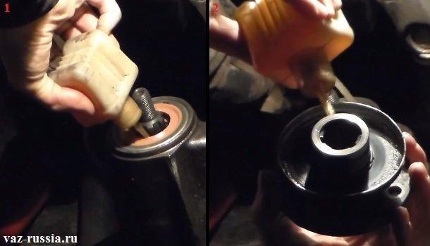 Смазка маслом сальника и того места на фланце которое будет входить во внутрь сальника